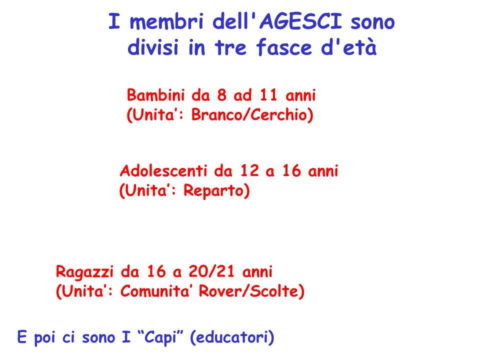 I membri dell AGESCI sono divisi in tre fasce d età Ragazzi da 16 a 20/21 anni (Unita': Comunita' Rover/Scolte) Adolescenti da 12 a 16 anni (Unita': Reparto) Bambini da 8 ad 11 anni (Unita': Branco/Cerchio) E poi ci sono I Capi (educatori)