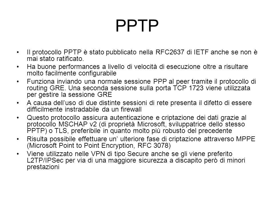 PPTP Il protocollo PPTP è stato pubblicato nella RFC2637 di IETF anche se non è mai stato ratificato. Ha buone performances a livello di velocità di e