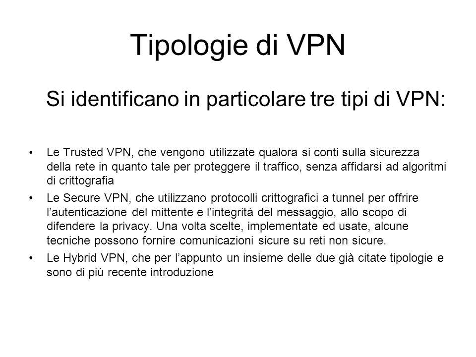 Tipologie di VPN Si identificano in particolare tre tipi di VPN: Le Trusted VPN, che vengono utilizzate qualora si conti sulla sicurezza della rete in quanto tale per proteggere il traffico, senza affidarsi ad algoritmi di crittografia Le Secure VPN, che utilizzano protocolli crittografici a tunnel per offrire l'autenticazione del mittente e l'integrità del messaggio, allo scopo di difendere la privacy.