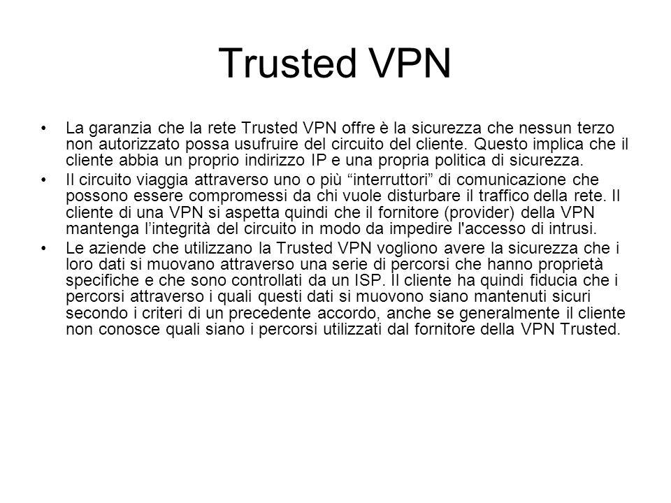 Trusted VPN La garanzia che la rete Trusted VPN offre è la sicurezza che nessun terzo non autorizzato possa usufruire del circuito del cliente. Questo