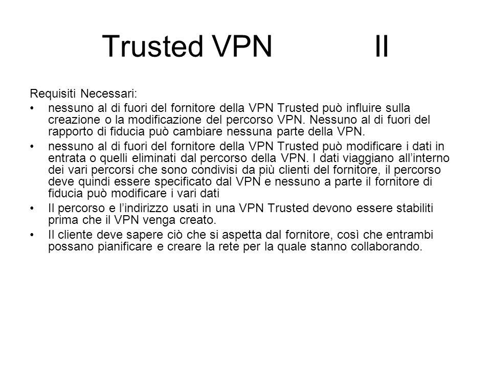 Trusted VPN II Requisiti Necessari: nessuno al di fuori del fornitore della VPN Trusted può influire sulla creazione o la modificazione del percorso VPN.