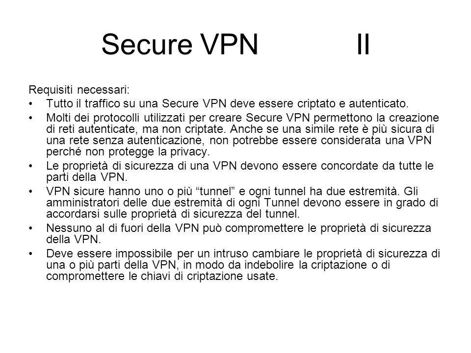 Secure VPN II Requisiti necessari: Tutto il traffico su una Secure VPN deve essere criptato e autenticato. Molti dei protocolli utilizzati per creare