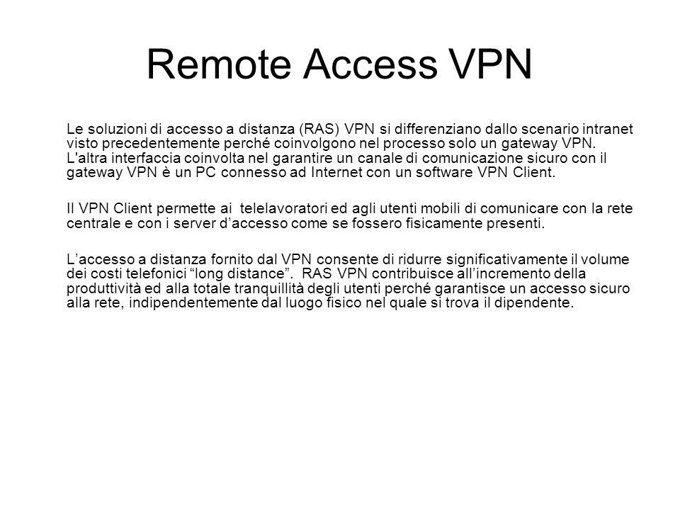 Remote Access VPN Le soluzioni di accesso a distanza (RAS) VPN si differenziano dallo scenario intranet visto precedentemente perché coinvolgono nel processo solo un gateway VPN.