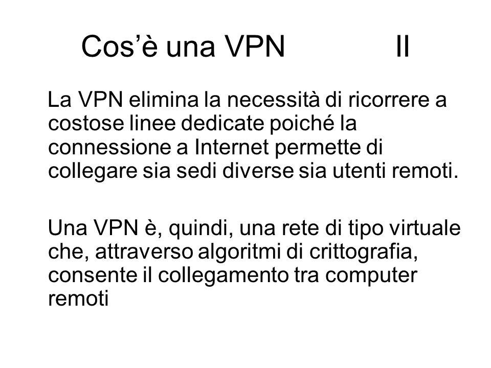 Cos'è una VPN II La VPN elimina la necessità di ricorrere a costose linee dedicate poiché la connessione a Internet permette di collegare sia sedi diverse sia utenti remoti.