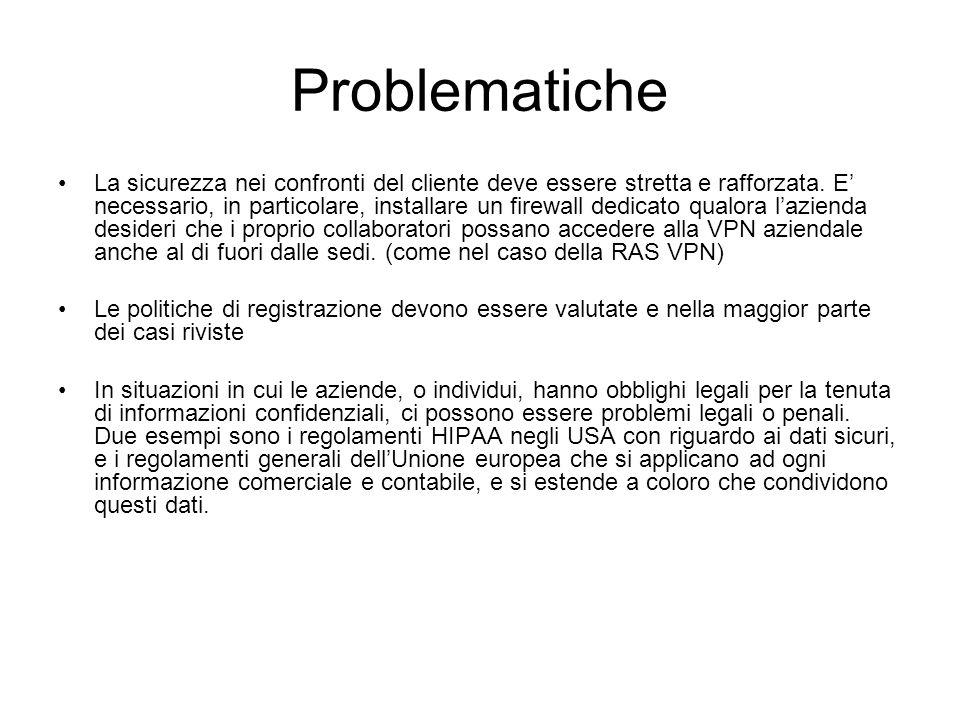 Problematiche La sicurezza nei confronti del cliente deve essere stretta e rafforzata. E' necessario, in particolare, installare un firewall dedicato