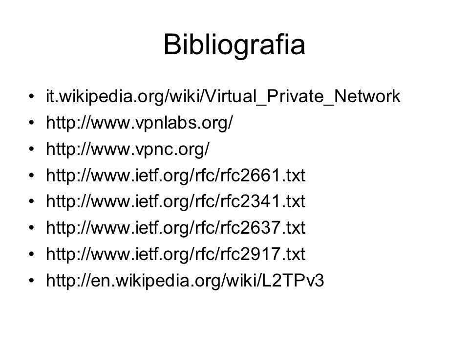 Bibliografia it.wikipedia.org/wiki/Virtual_Private_Network http://www.vpnlabs.org/ http://www.vpnc.org/ http://www.ietf.org/rfc/rfc2661.txt http://www.ietf.org/rfc/rfc2341.txt http://www.ietf.org/rfc/rfc2637.txt http://www.ietf.org/rfc/rfc2917.txt http://en.wikipedia.org/wiki/L2TPv3