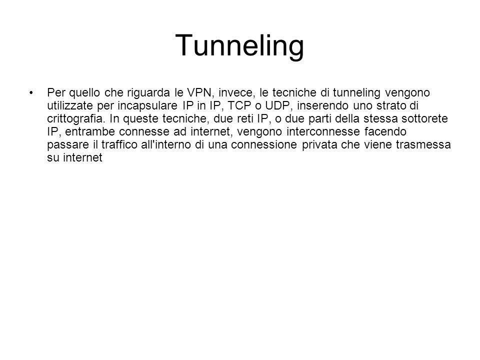 Tunneling Per quello che riguarda le VPN, invece, le tecniche di tunneling vengono utilizzate per incapsulare IP in IP, TCP o UDP, inserendo uno strato di crittografia.