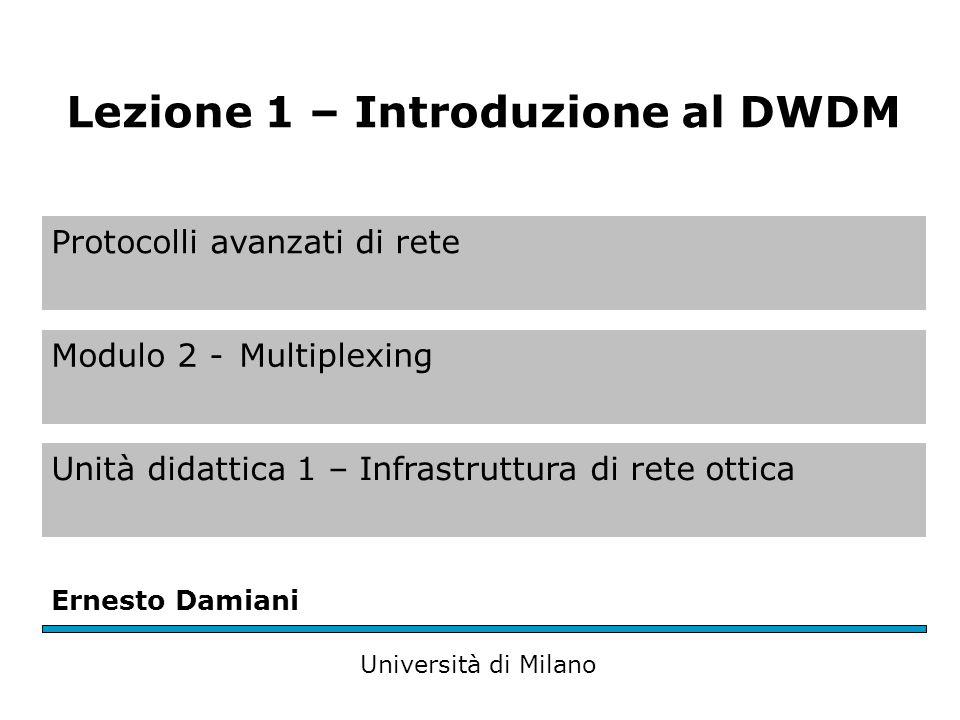 Protocolli avanzati di rete Modulo 2 -Multiplexing Unità didattica 1 – Infrastruttura di rete ottica Ernesto Damiani Università di Milano Lezione 1 – Introduzione al DWDM