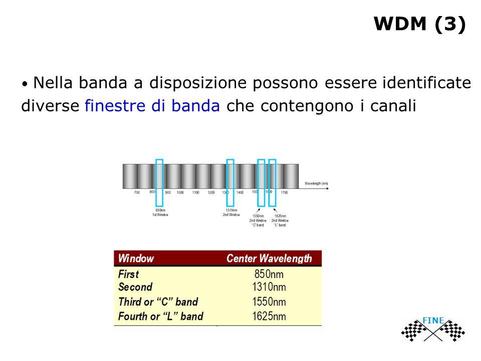 WDM (3) Nella banda a disposizione possono essere identificate diverse finestre di banda che contengono i canali FINE