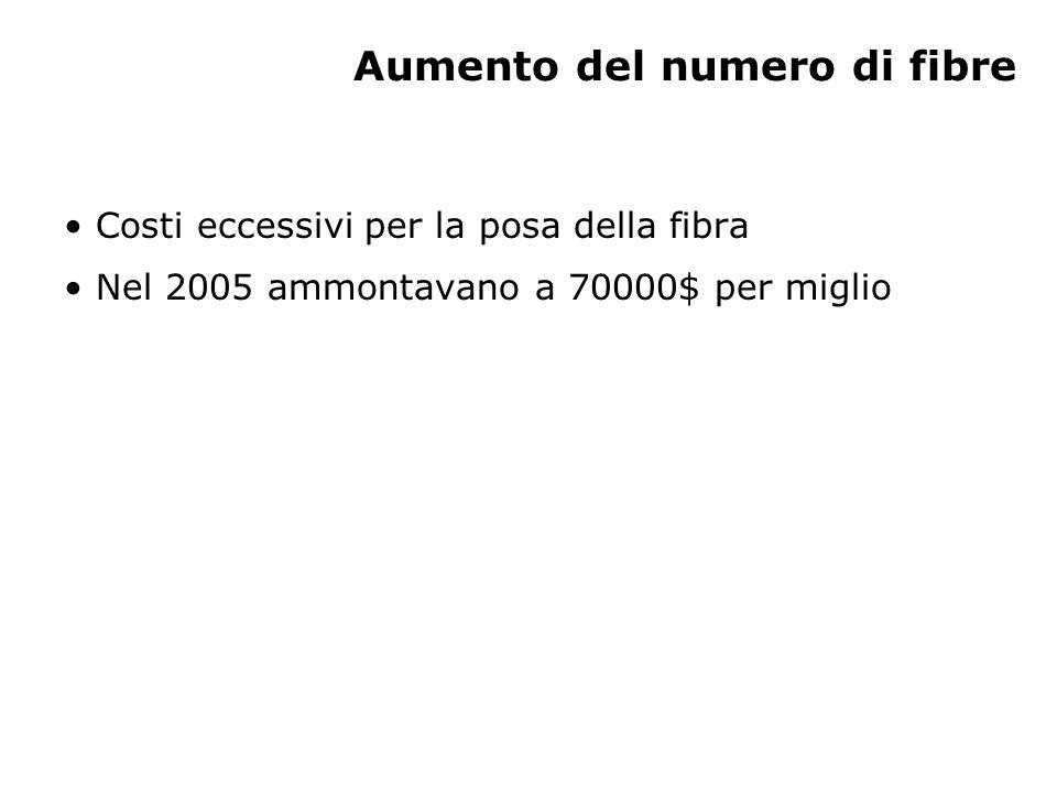Aumento del numero di fibre Costi eccessivi per la posa della fibra Nel 2005 ammontavano a 70000$ per miglio