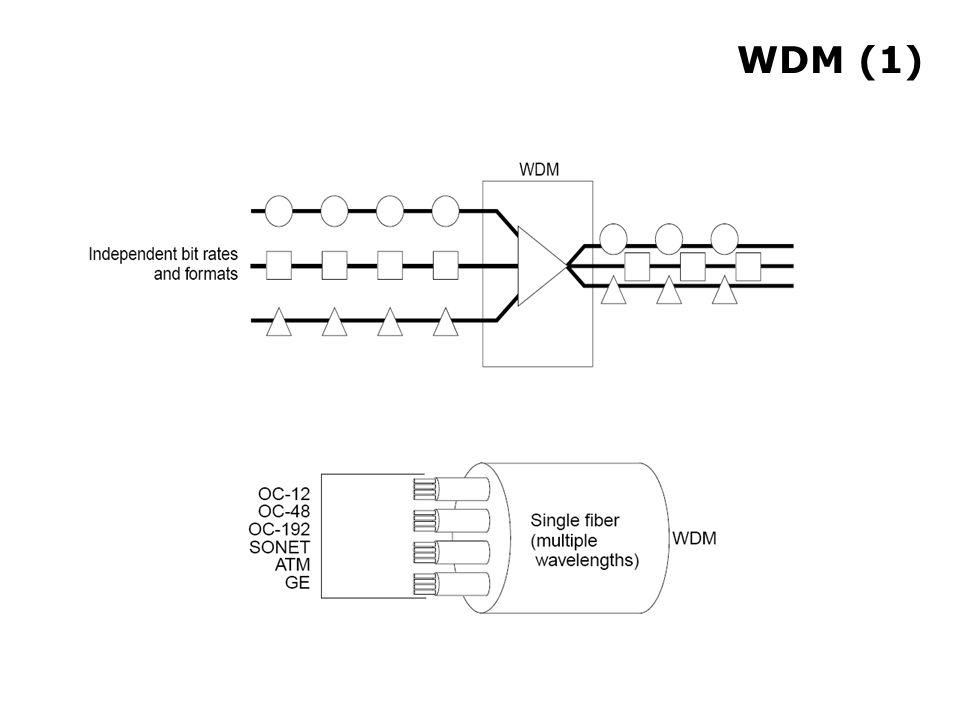 WDM (2) Non sono necessari siti di rigenerazione, perché sostituiti da amplificatori ottici Possibilità di supportare segnali con codifiche diverse Efficiente per quanto riguarda l'utilizzo del mezzo trasmissivo Alta scalabilità