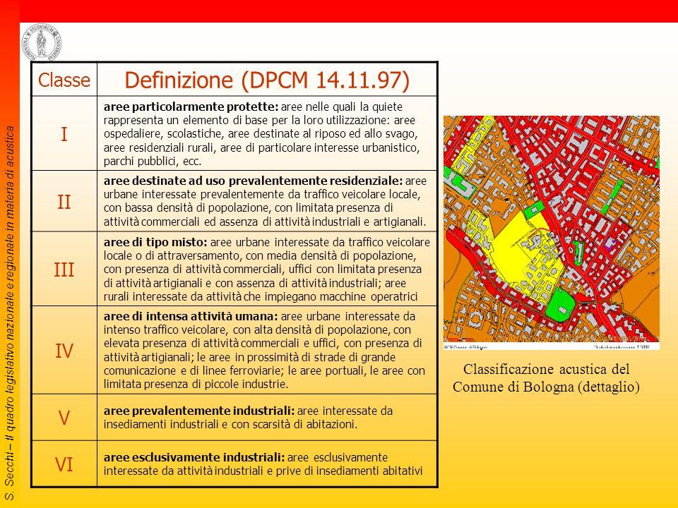 S. Secchi – Il quadro legislativo nazionale e regionale in materia di acustica DPCM 14/11/97 Valori limite  valori limite di emissione: valore massim