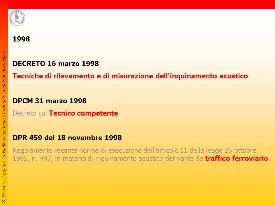 S. Secchi – Il quadro legislativo nazionale e regionale in materia di acustica DPCM 14/11/97 Valori limite differenziali di immissione Periodo diurno: