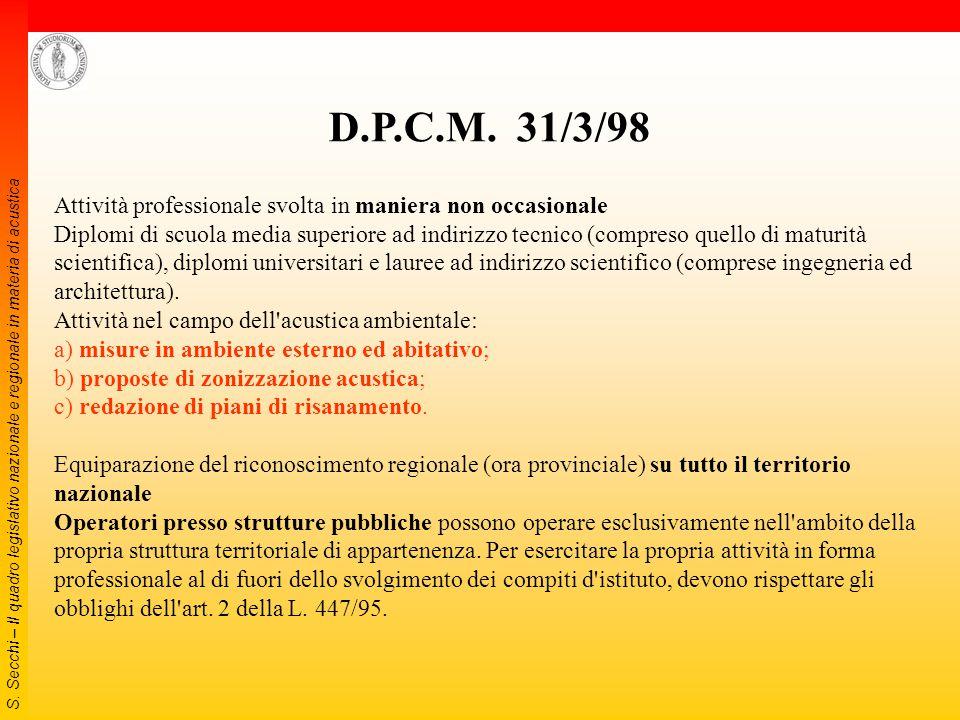 S. Secchi – Il quadro legislativo nazionale e regionale in materia di acustica 1998 DECRETO 16 marzo 1998 Tecniche di rilevamento e di misurazione del