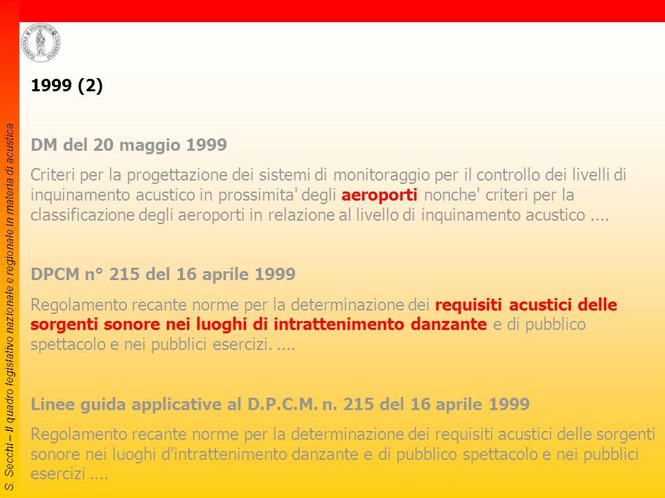 S. Secchi – Il quadro legislativo nazionale e regionale in materia di acustica 1999 (1) DM del 3 dicembre 1999 Procedure antirumore e zone di rispetto