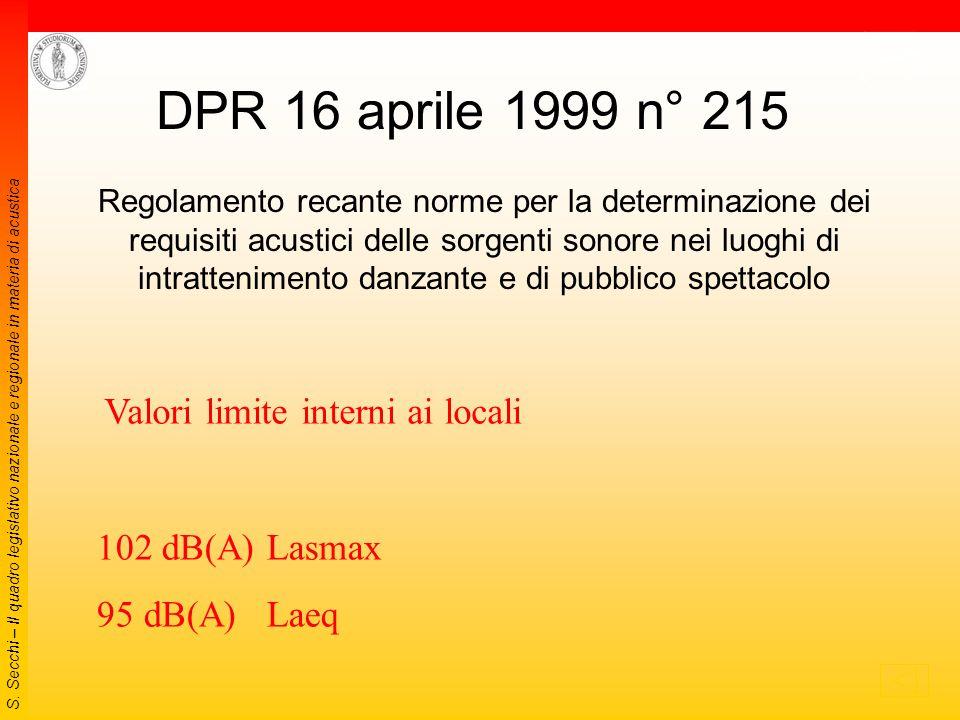S. Secchi – Il quadro legislativo nazionale e regionale in materia di acustica 1999 (2) DM del 20 maggio 1999 Criteri per la progettazione dei sistemi