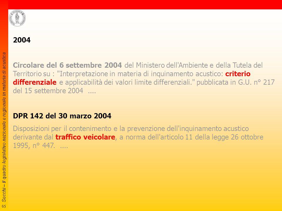 S. Secchi – Il quadro legislativo nazionale e regionale in materia di acustica 2003 Legge 31 ottobre 2003, n.306 Disposizioni per l'adempimento di obb