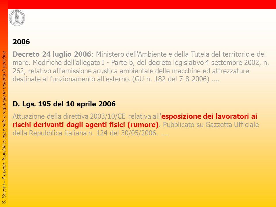 S. Secchi – Il quadro legislativo nazionale e regionale in materia di acustica 2005 (2) Decreto 27 luglio 2005 Norma concernente il regolamento d'attu