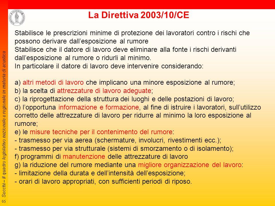 S. Secchi – Il quadro legislativo nazionale e regionale in materia di acustica 2006 Decreto 24 luglio 2006: Ministero dell'Ambiente e della Tutela del