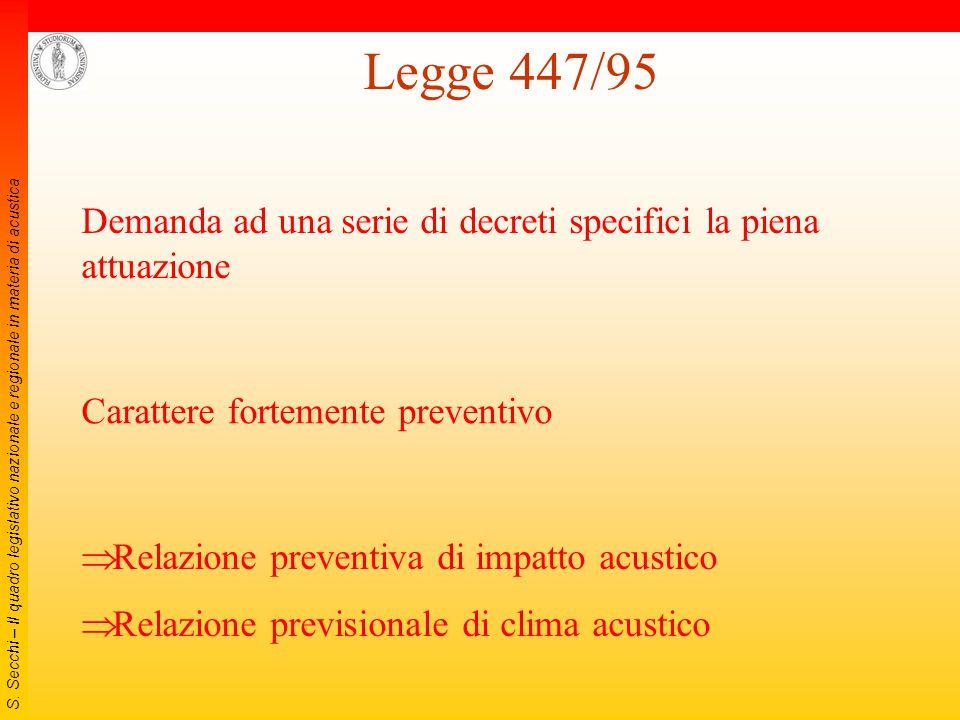 S. Secchi – Il quadro legislativo nazionale e regionale in materia di acustica Legge 26 ottobre 1995, n. 447 (Legge quadro sull'inquinamento acustico