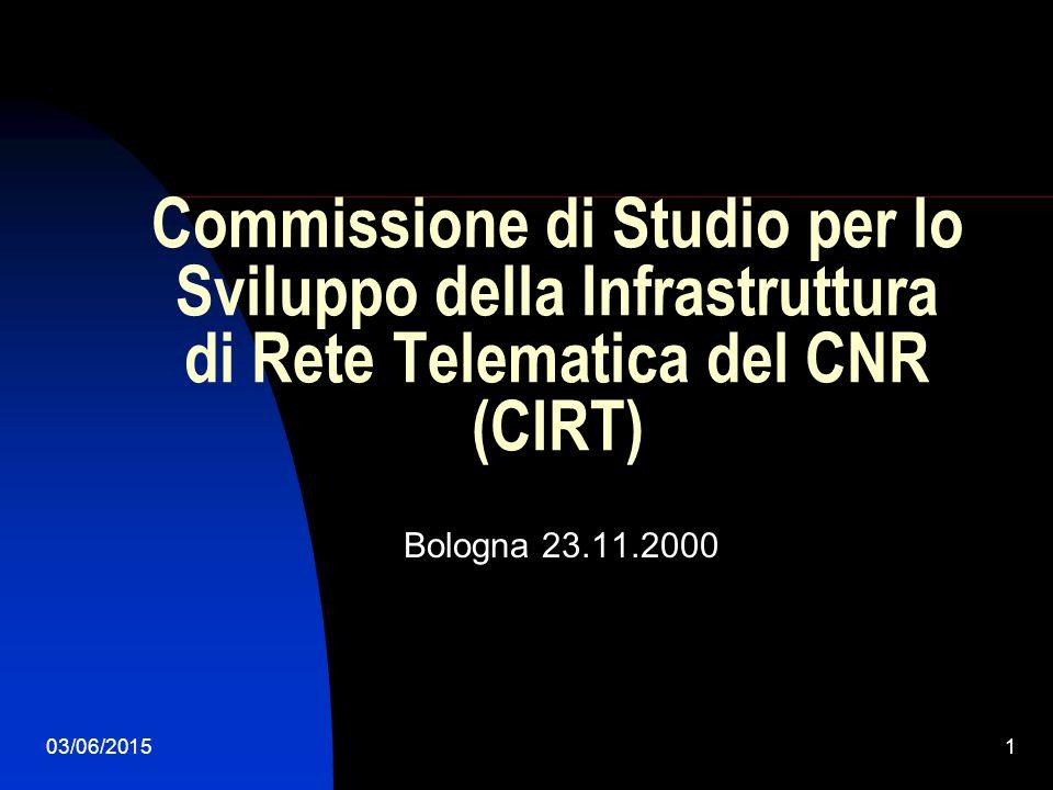 03/06/20151 Commissione di Studio per lo Sviluppo della Infrastruttura di Rete Telematica del CNR (CIRT) Bologna 23.11.2000