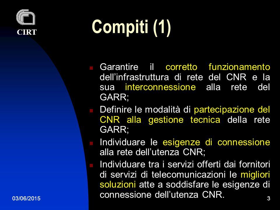 CIRT 03/06/20153 Compiti (1) Garantire il corretto funzionamento dell'infrastruttura di rete del CNR e la sua interconnessione alla rete del GARR; Definire le modalità di partecipazione del CNR alla gestione tecnica della rete GARR; Individuare le esigenze di connessione alla rete dell'utenza CNR; Individuare tra i servizi offerti dai fornitori di servizi di telecomunicazioni le migliori soluzioni atte a soddisfare le esigenze di connessione dell'utenza CNR.