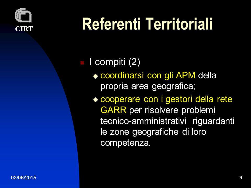 CIRT 03/06/20159 Referenti Territoriali I compiti (2)  coordinarsi con gli APM della propria area geografica;  cooperare con i gestori della rete GARR per risolvere problemi tecnico-amministrativi riguardanti le zone geografiche di loro competenza.
