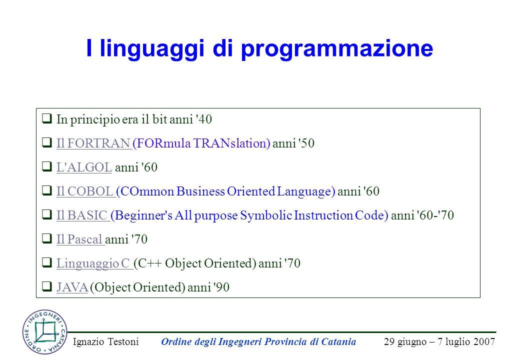 29 giugno – 7 luglio 2007Ignazio TestoniOrdine degli Ingegneri Provincia di Catania I linguaggi di programmazione  In principio era il bit anni '40 