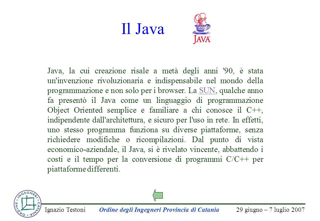 29 giugno – 7 luglio 2007Ignazio TestoniOrdine degli Ingegneri Provincia di Catania Il Java Java, la cui creazione risale a metà degli anni '90, è sta
