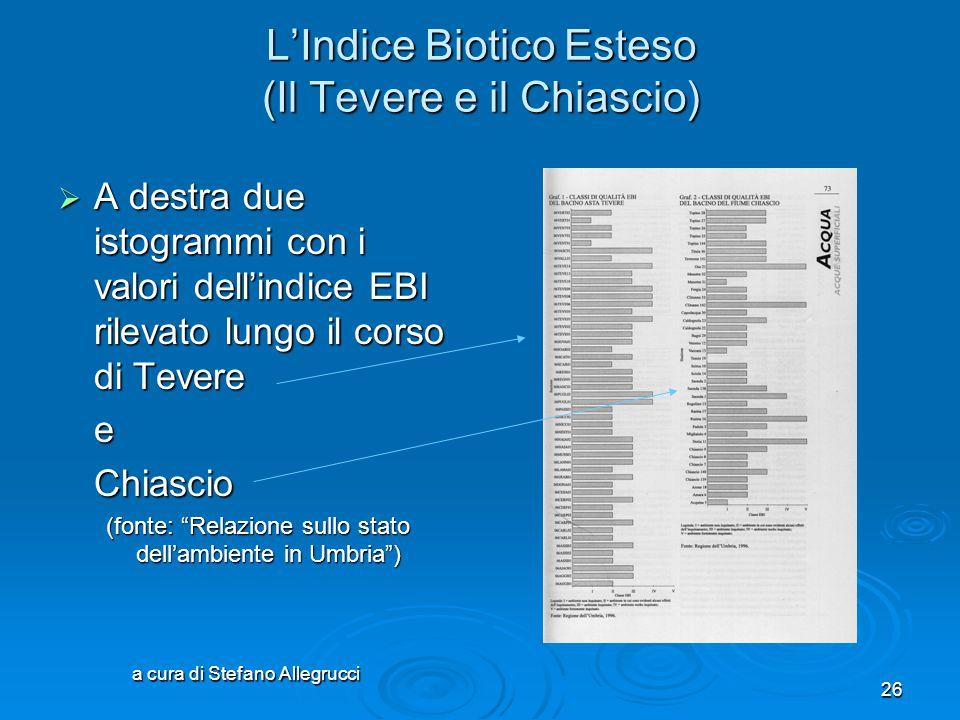a cura di Stefano Allegrucci 25 L'Indice Biotico Esteso Tabella riassuntiva per la valutazione finale classi di qualità valoreIBE giudizio di qualità