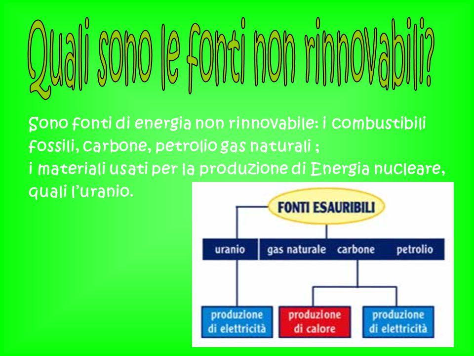 Sono fonti di energia non rinnovabile: i combustibili fossili, carbone, petrolio gas naturali ; i materiali usati per la produzione di Energia nuclear