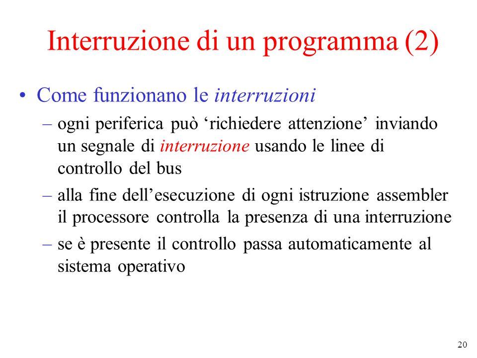 20 Interruzione di un programma (2) Come funzionano le interruzioni –ogni periferica può 'richiedere attenzione' inviando un segnale di interruzione usando le linee di controllo del bus –alla fine dell'esecuzione di ogni istruzione assembler il processore controlla la presenza di una interruzione –se è presente il controllo passa automaticamente al sistema operativo
