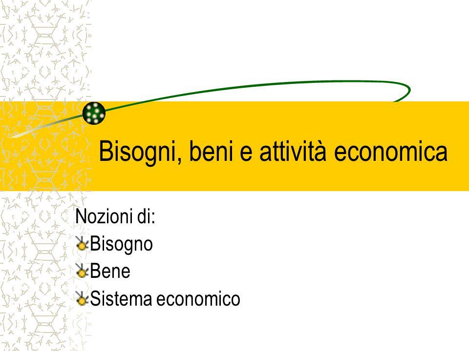 Bisogni, beni e attività economica Nozioni di: Bisogno Bene Sistema economico