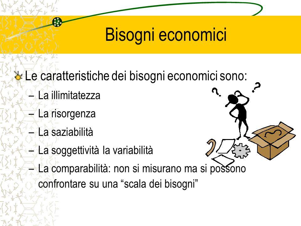 Bisogni economici Le caratteristiche dei bisogni economici sono: –La illimitatezza –La risorgenza –La saziabilità –La soggettività la variabilità –La comparabilità: non si misurano ma si possono confrontare su una scala dei bisogni