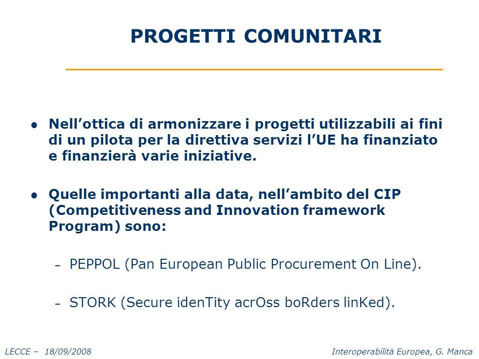 LECCE – 18/09/2008 Interoperabilità Europea, G.
