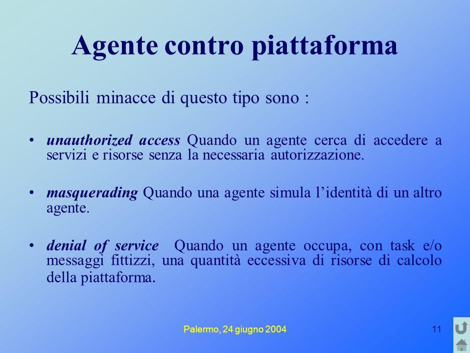 Palermo, 24 giugno 200411 Agente contro piattaforma Possibili minacce di questo tipo sono : unauthorized access Quando un agente cerca di accedere a servizi e risorse senza la necessaria autorizzazione.