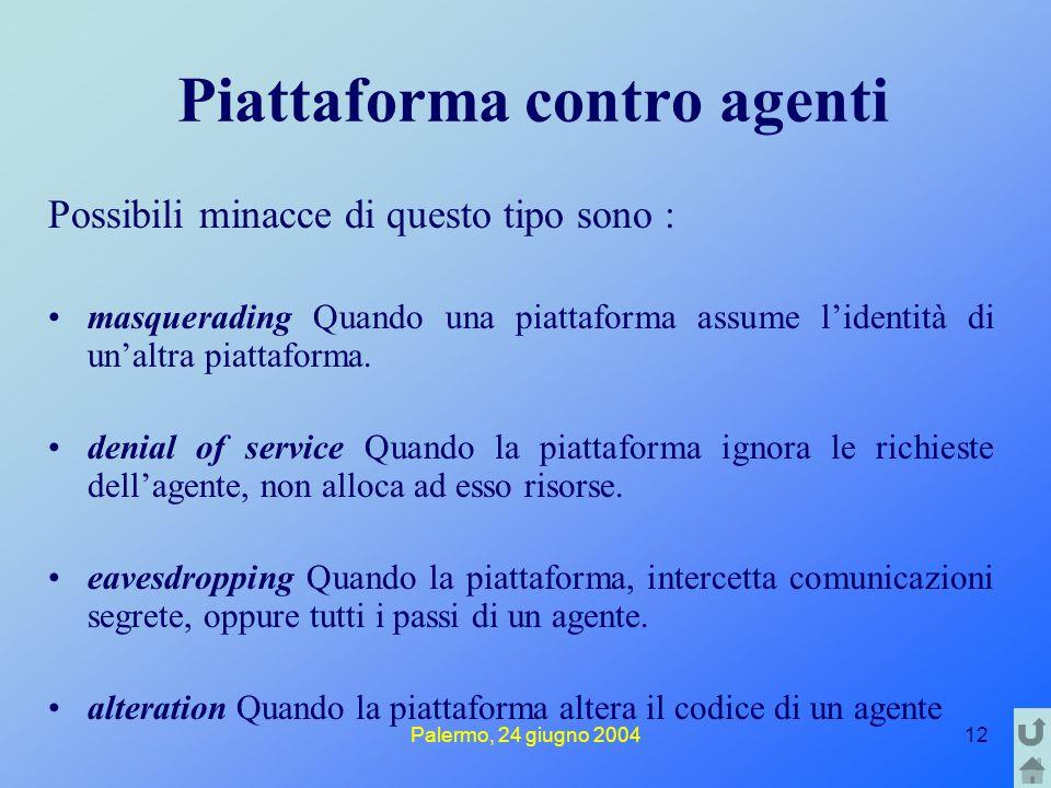 Palermo, 24 giugno 200412 Piattaforma contro agenti Possibili minacce di questo tipo sono : masquerading Quando una piattaforma assume l'identità di u