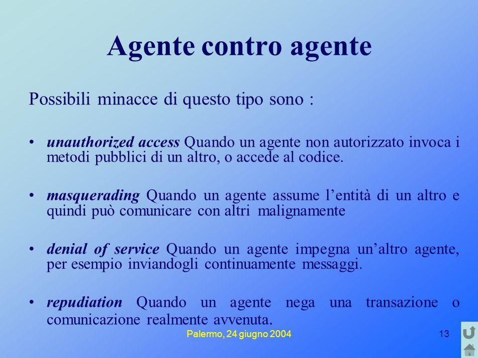Palermo, 24 giugno 200413 Agente contro agente Possibili minacce di questo tipo sono : unauthorized access Quando un agente non autorizzato invoca i metodi pubblici di un altro, o accede al codice.