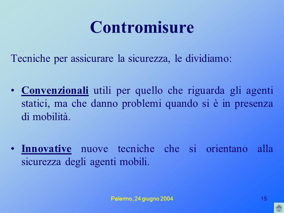 Palermo, 24 giugno 200415 Contromisure Tecniche per assicurare la sicurezza, le dividiamo: Convenzionali utili per quello che riguarda gli agenti stat