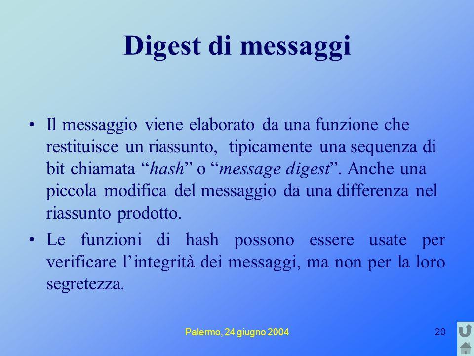 Palermo, 24 giugno 200420 Digest di messaggi Il messaggio viene elaborato da una funzione che restituisce un riassunto, tipicamente una sequenza di bit chiamata hash o message digest .