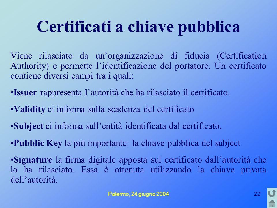 Palermo, 24 giugno 200422 Certificati a chiave pubblica Viene rilasciato da un'organizzazione di fiducia (Certification Authority) e permette l'identi