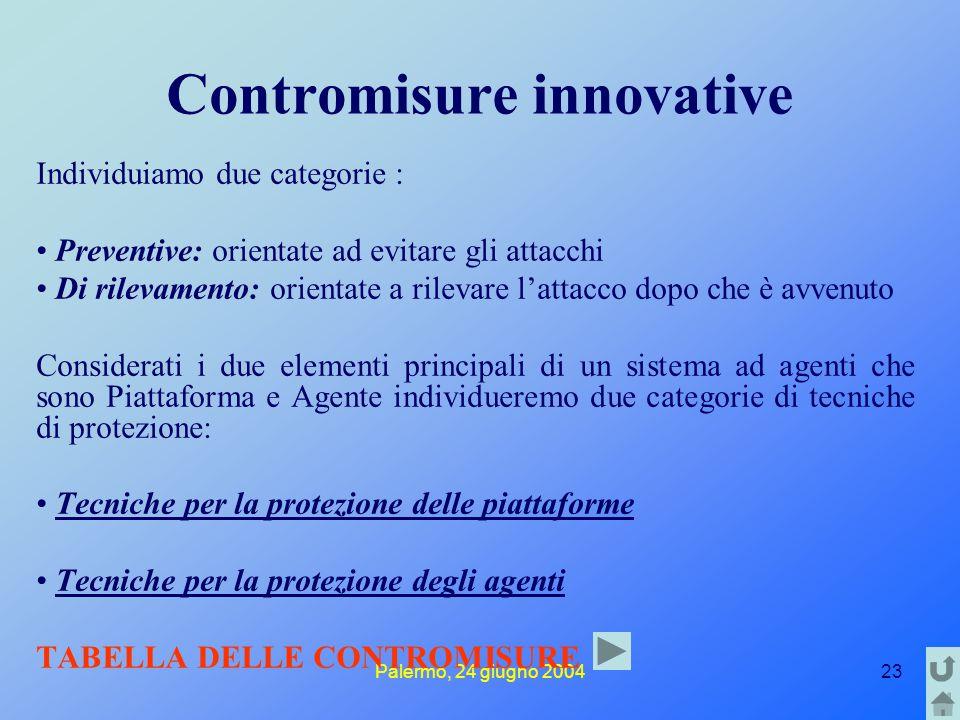 Palermo, 24 giugno 200423 Contromisure innovative Individuiamo due categorie : Preventive: orientate ad evitare gli attacchi Di rilevamento: orientate