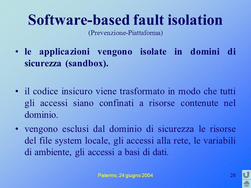 Palermo, 24 giugno 200426 Software-based fault isolation (Prevenzione-Piattaforma) le applicazioni vengono isolate in domini di sicurezza (sandbox). i