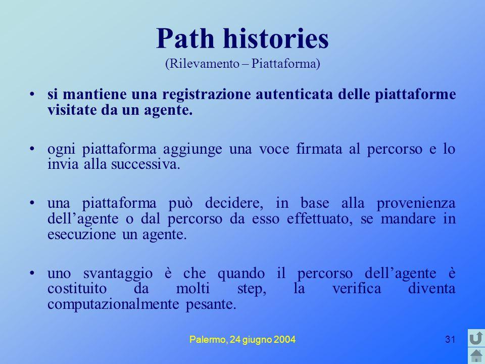Palermo, 24 giugno 200431 Path histories (Rilevamento – Piattaforma) si mantiene una registrazione autenticata delle piattaforme visitate da un agente.