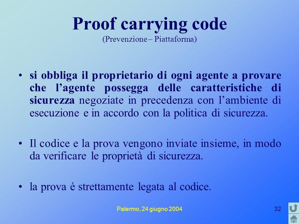 Palermo, 24 giugno 200432 Proof carrying code (Prevenzione – Piattaforma) si obbliga il proprietario di ogni agente a provare che l'agente possegga de