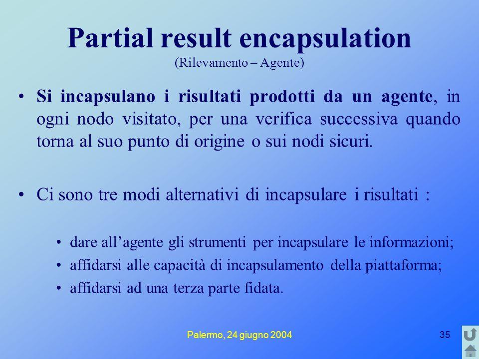 Palermo, 24 giugno 200435 Partial result encapsulation (Rilevamento – Agente) Si incapsulano i risultati prodotti da un agente, in ogni nodo visitato,