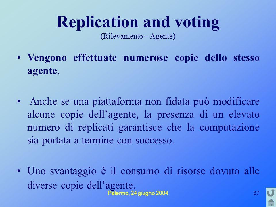 Palermo, 24 giugno 200437 Replication and voting (Rilevamento – Agente) Vengono effettuate numerose copie dello stesso agente. Anche se una piattaform
