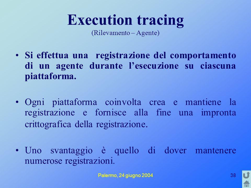 Palermo, 24 giugno 200438 Execution tracing (Rilevamento – Agente) Si effettua una registrazione del comportamento di un agente durante l'esecuzione s