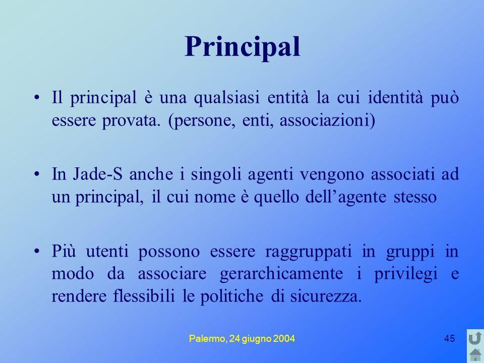 Palermo, 24 giugno 200445 Principal Il principal è una qualsiasi entità la cui identità può essere provata. (persone, enti, associazioni) In Jade-S an