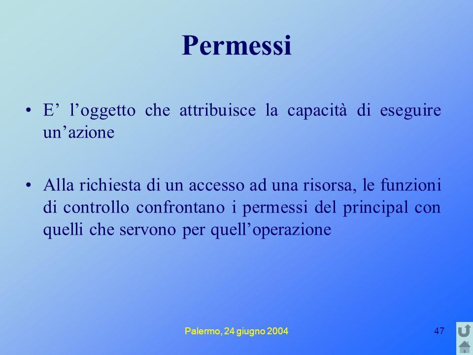 Palermo, 24 giugno 200447 Permessi E' l'oggetto che attribuisce la capacità di eseguire un'azione Alla richiesta di un accesso ad una risorsa, le funzioni di controllo confrontano i permessi del principal con quelli che servono per quell'operazione